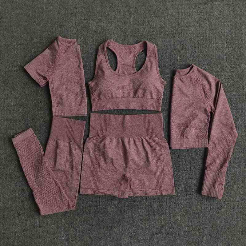 Seamless Women Yoga Set, Fitness Long Sleeve Crop & High Waist Leggings
