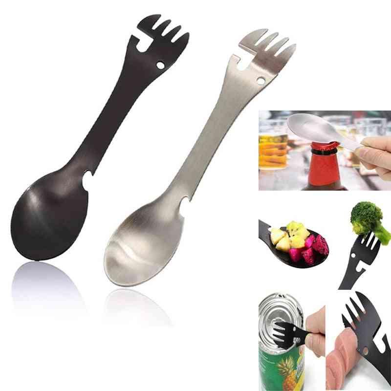 Stainless Steel Fork Picnic Camp Multi Tool Flatware Portable Tableware Bottle Spoon Cutlery