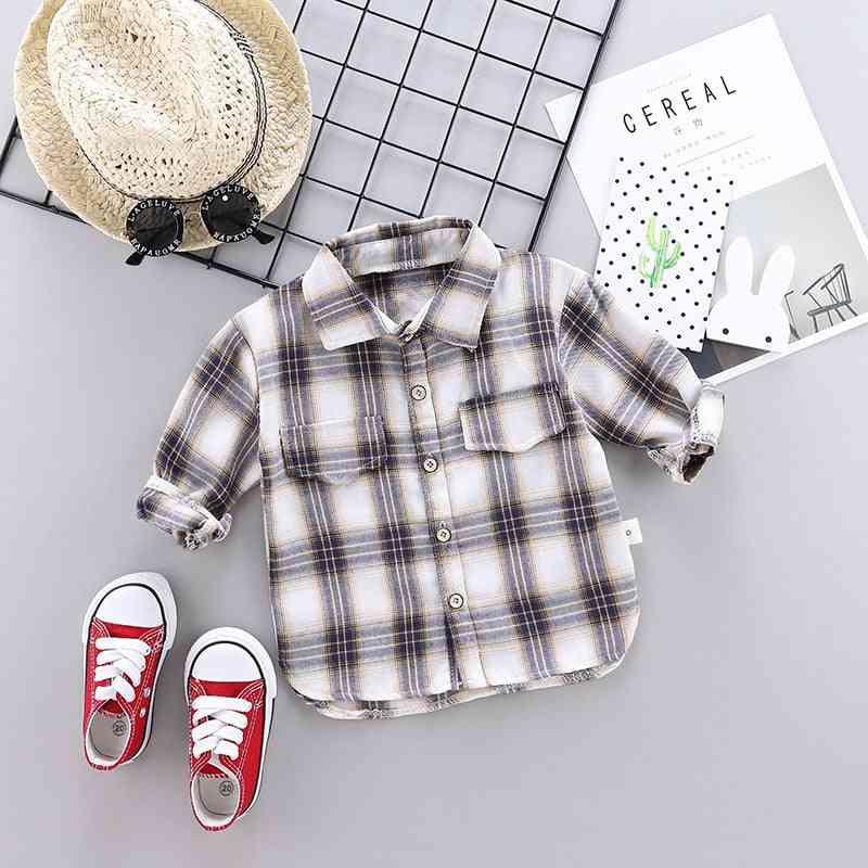 Boys & Long Sleeve Buttons Pocket Shirt, Turn Down Collar Blouses