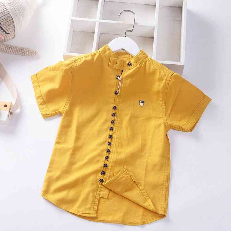 Cotton Linen Cool Fabric Straight Built In Teen Shirts, Summer Buttons's Clothing