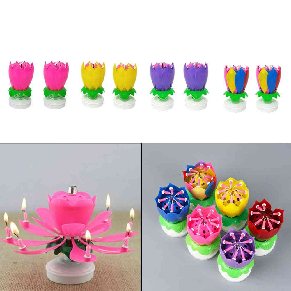 Rotating Double Lotus Candle
