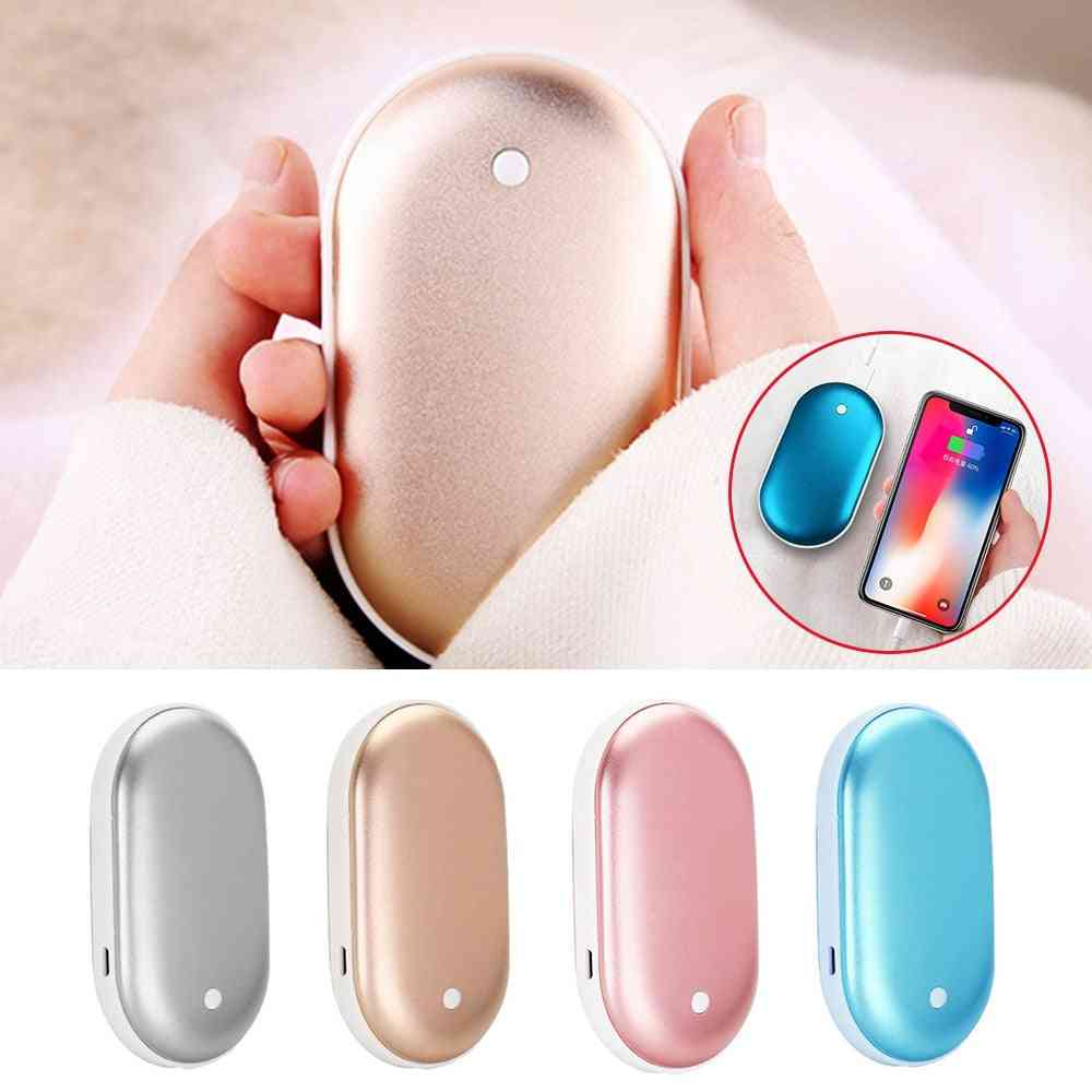 Usb Rechargeable Electric Hand Warmer, Winter Double-side Heating Mini Pocket Power Bank