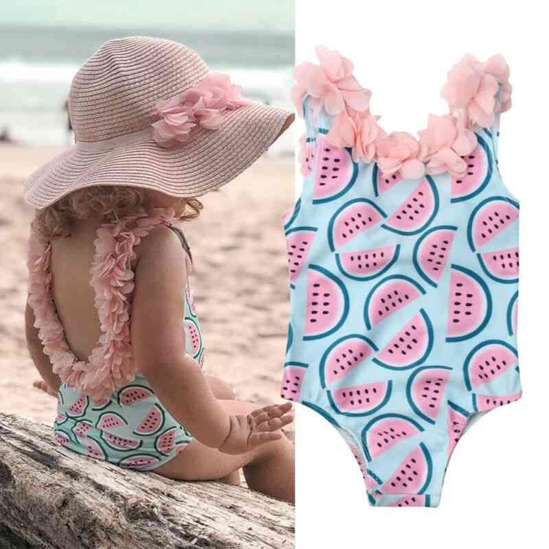 Baby Sleeveless Watermelon Print Backless Flower Cute Swimsuits