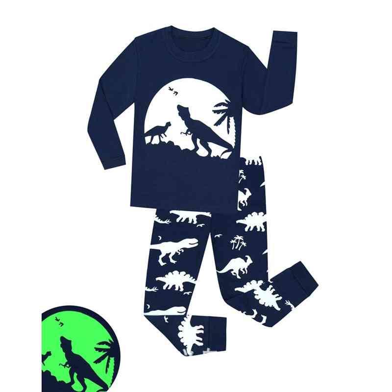 Boys/girls Luminous Dinosaur Cotton Pajama-set For