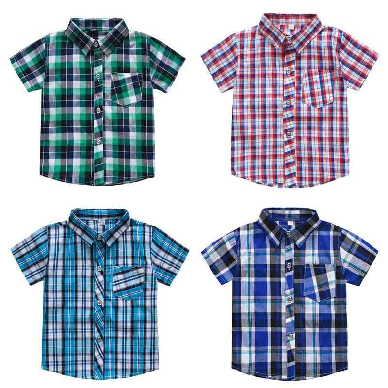 Classic Plaid, Short Sleeve Cotton Casual Shirt