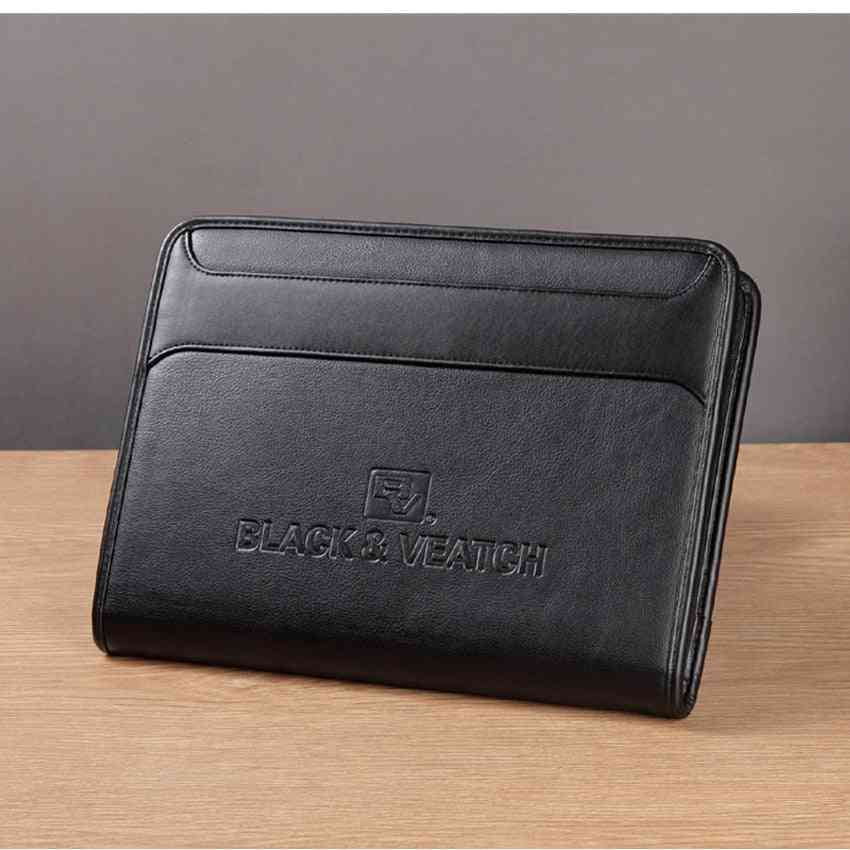 Multifunctional Padfolio Folder Document Bag With Cellphone Pocket