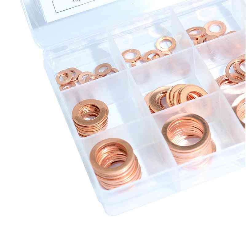 Assorted Copper Washer Gasket Set, Flat Ring Seal Assortment Kit