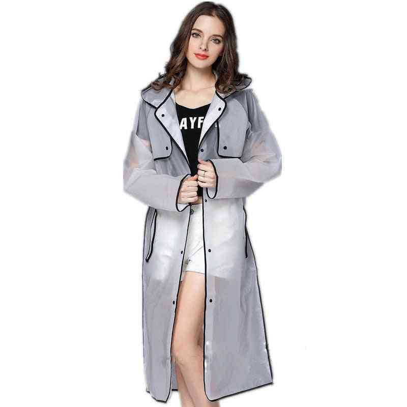 Women Waterproof Long Translucent Raincoat For Adults