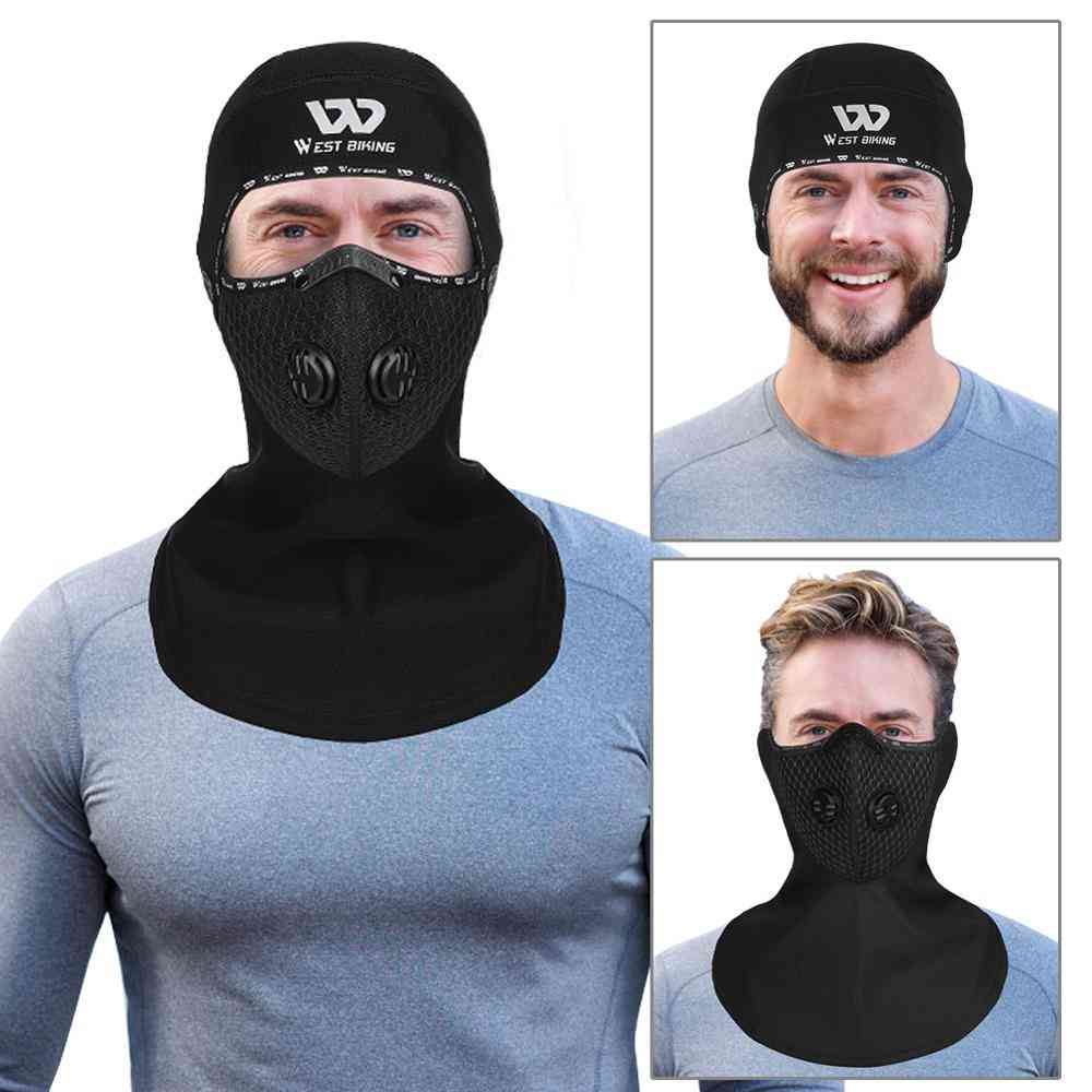 Winter Sports Cycling Headwear/ Carbon Filter Face Cover Bicycle Motorcycle Fleece Head Cap
