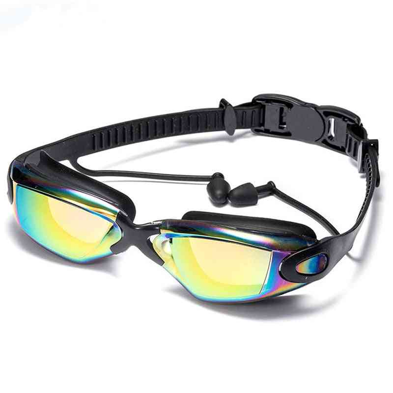Professional Swimming Goggles With Earplugs Nose Clip Electroplate Waterproof Silicone