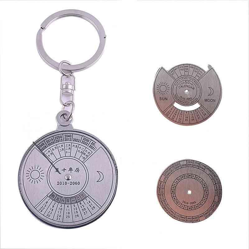 Mini Unique Perpetual Calendar, Metal Keyring  (2010 To 2060 Calendar)