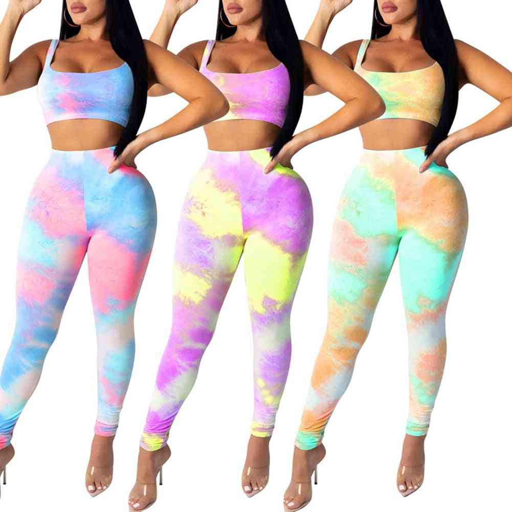 Women Sports Outfits Fashion Tie-dye Printed Crop Top And Pants Suit