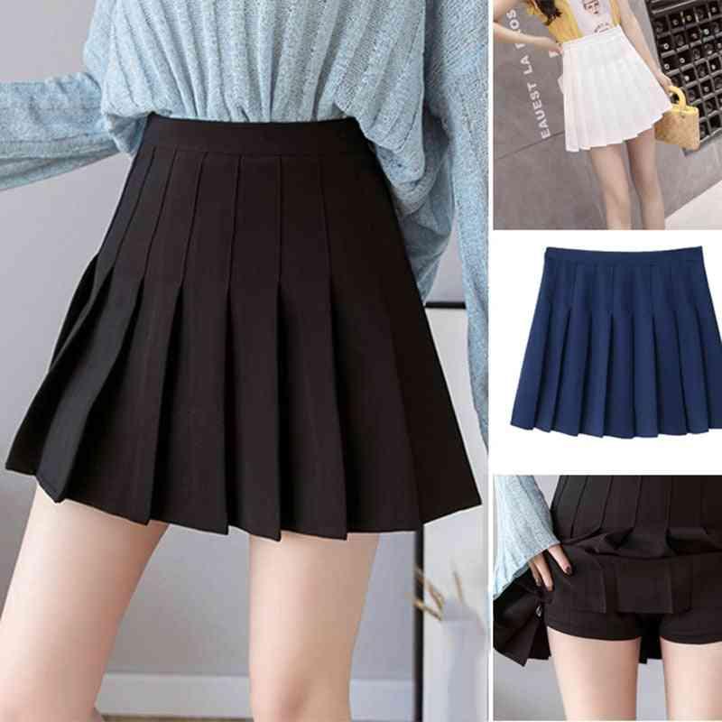 Women Pleated Girl Tennis Skirt With Inner Shorts School Uniforms Dance High Waist Golf