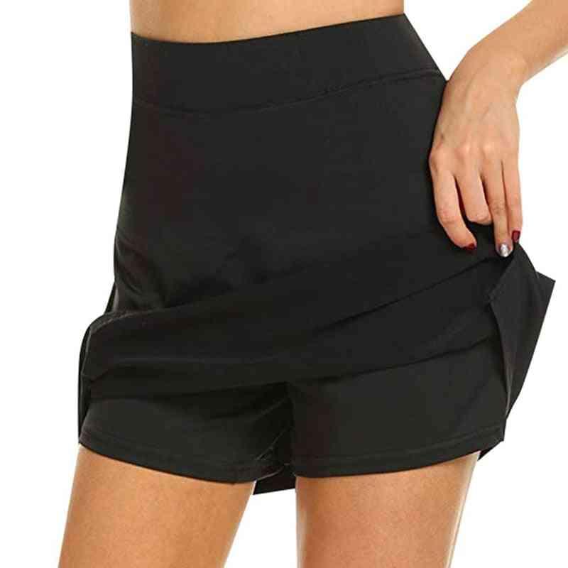 Women Active Quick Dry Female Running Tennis Skirt With Short