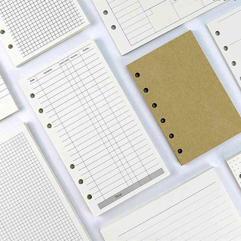 A5 A6 A7 Ivory White Standard 6-hole Inner Page Loose Leaf Paper Refil Set