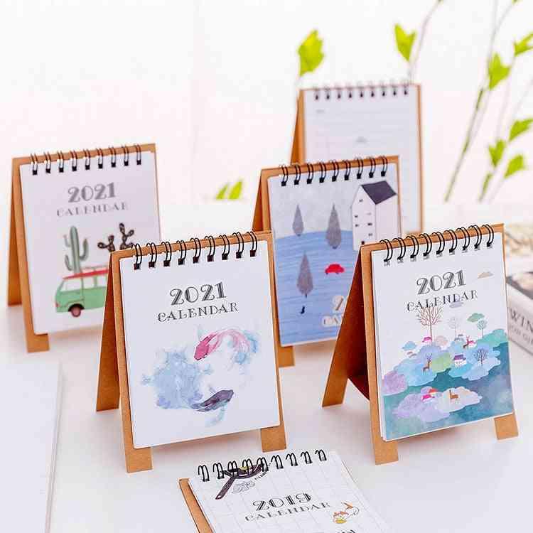 Hand Drawing Fresh Cartoon Mini Flamingo Desktop Paper Calendar