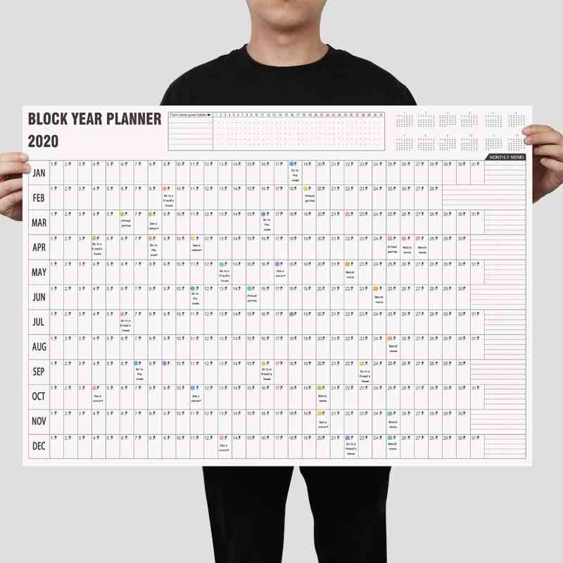 2020/2021 Block Year Planner/daily Plan Paper Wall Calendar With 2 Sheet