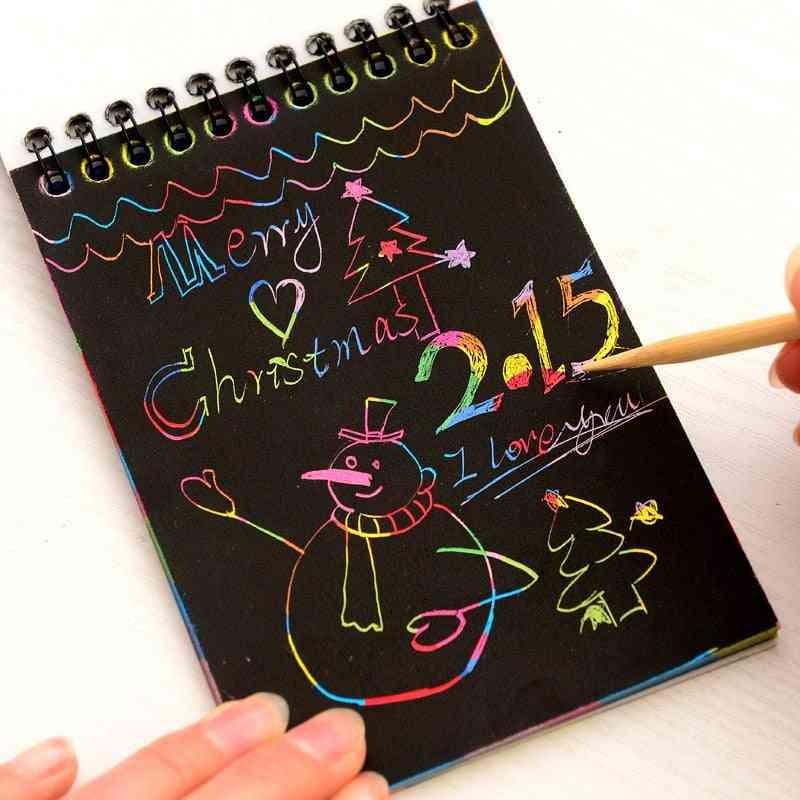 Novelty Drawing Book, Diy Scratch Graffiti Magic Note Sketch Cardboard