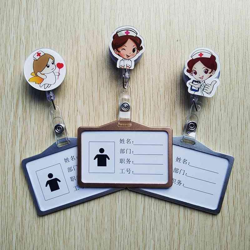 Nurse & Doctor Retractable Badges Reel With Horizontal Aluminum Id Business Work Card Badge Holder