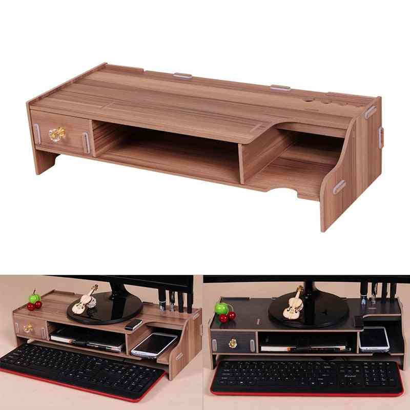Wooden Monitor Stand, Riser Computer Desk With Keyboard & Mouse Storage