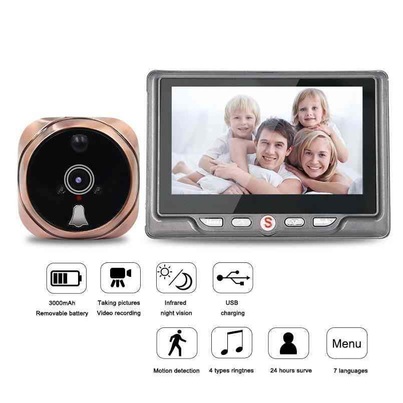 Digital Peephole Video Camera Door Bell, Video-eye With Tf Card