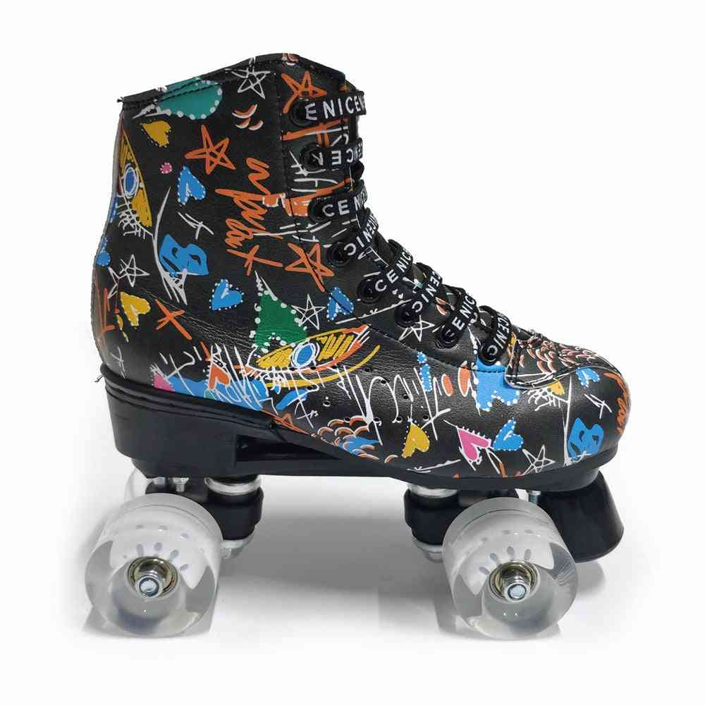 Double Line Women & Men Skating Shoes With Pu 4 Wheels
