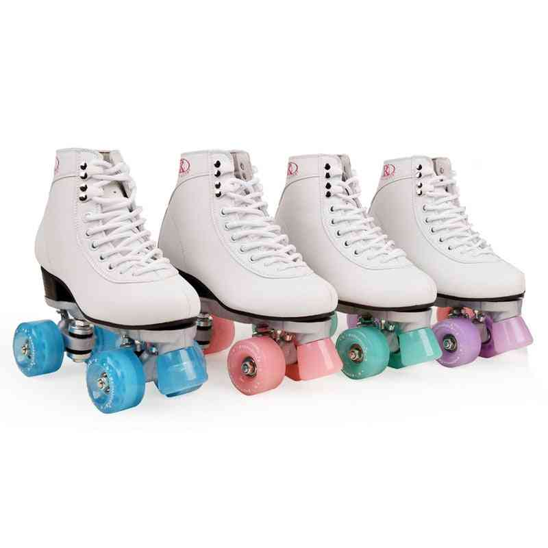 Women's Classic Retro 4 Wheels Quad Roller Skates Shoes