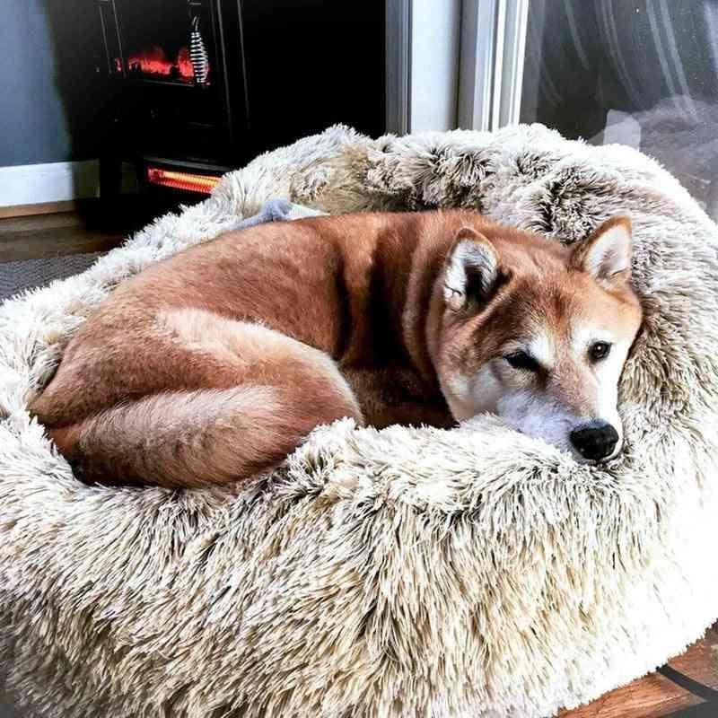 Faux Fur Dog Beds, Orthopedic Donut, Cat Pet Round Pillow
