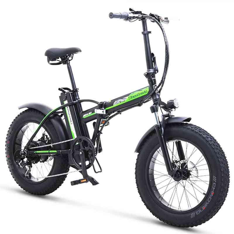 Electric Bike, Fat Tire Bicycle Beach Cruiser Booster, Lithium Battery, Folding, Mens Women's Ebike