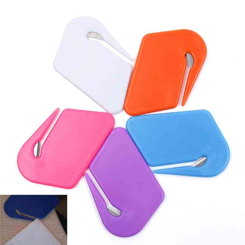 Plastic Mini Letter Knife, Mail Envelope Opener, Safety Paper Guarded Cutter Blade, Office Equipment