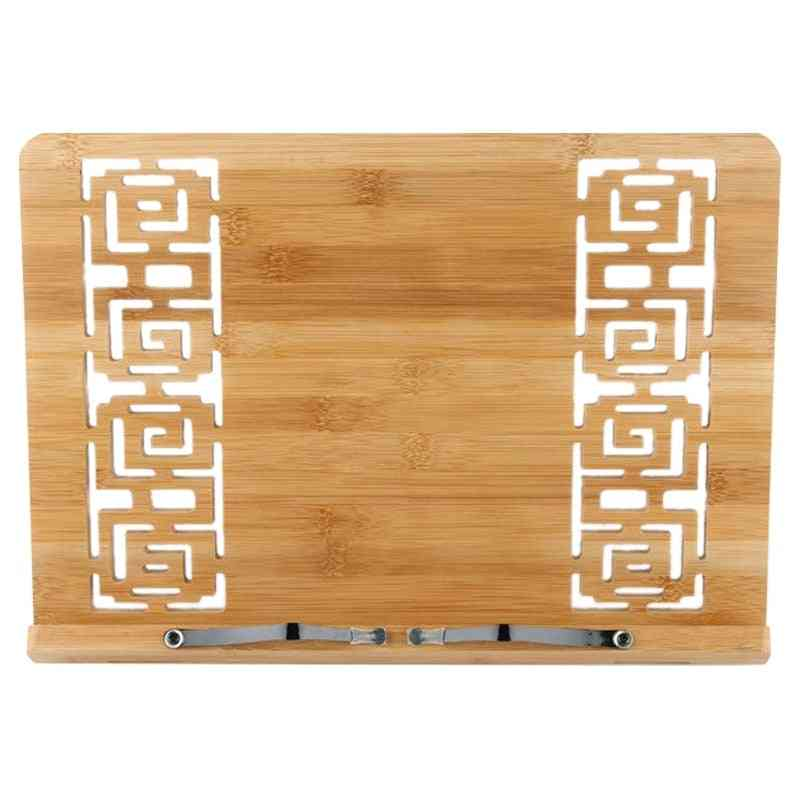 Tablet Computer Support Adjustable Bamboo Bookshelf With Folder