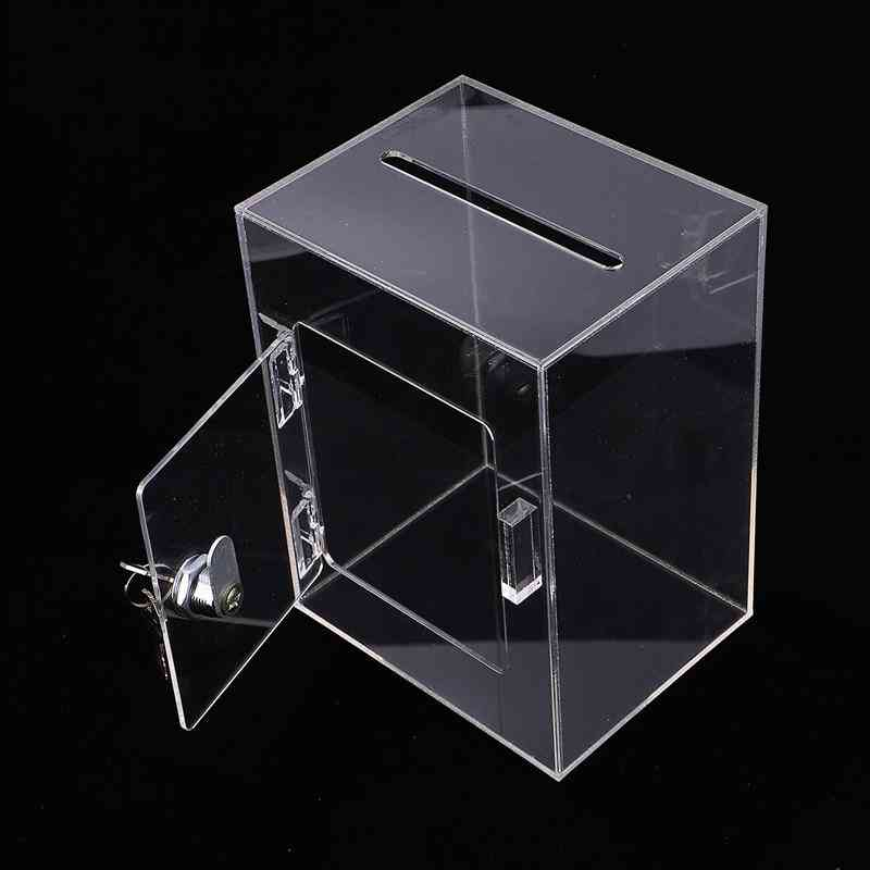 Transparent Fundraising, Charity Donation Box With Keylock  For Ballot Survey