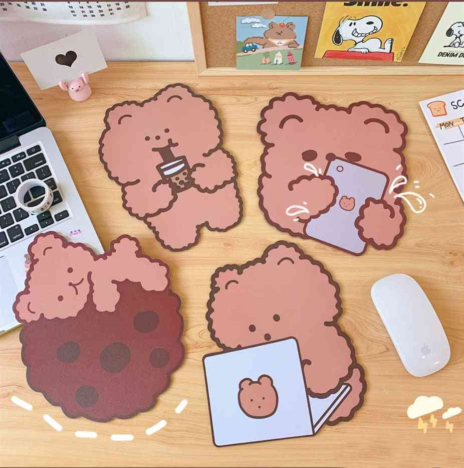 Cute Bear Mouse Pad - Waterproof Big Cup Mat For Office / Home
