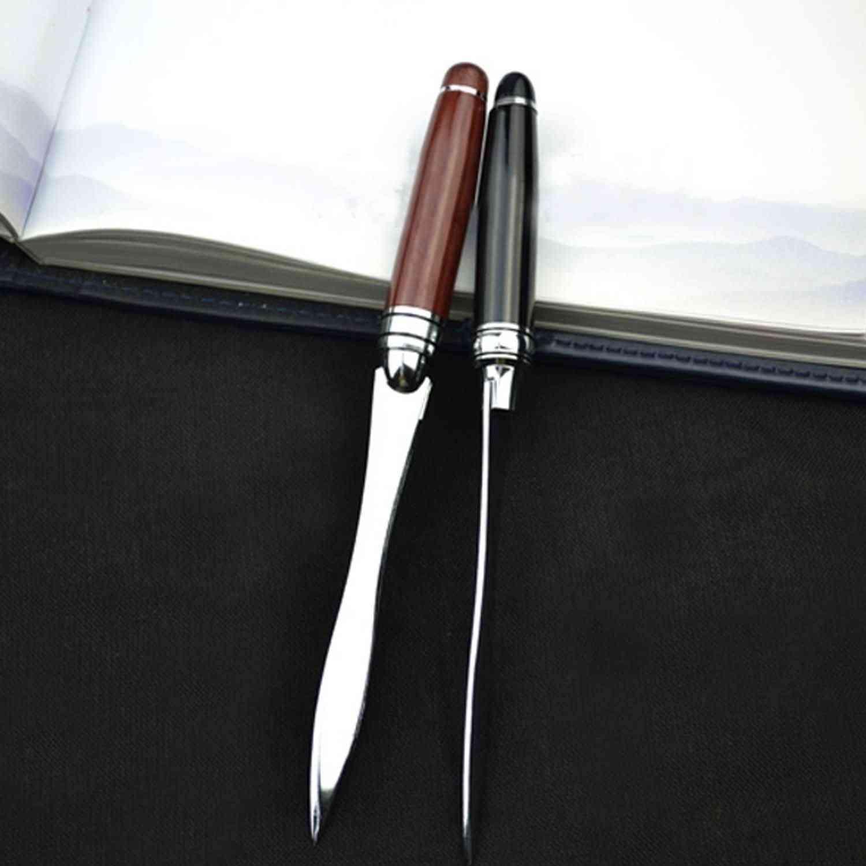 Retro Vintage Metal File Letter Opener - Cut Paper Knife With Wood Handle