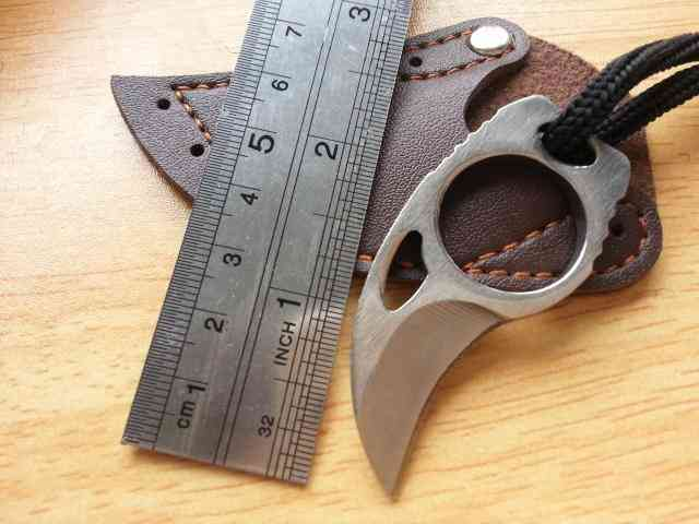 Mini Portable Claw  Leather Sheath Cutter / Knife Tool - Outdoor Camp Gadget