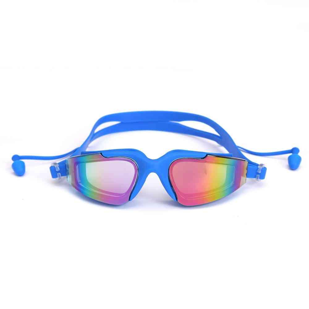 Professional Swimming Goggles, Silicone Anti-fog Uv Glasses With Earplug