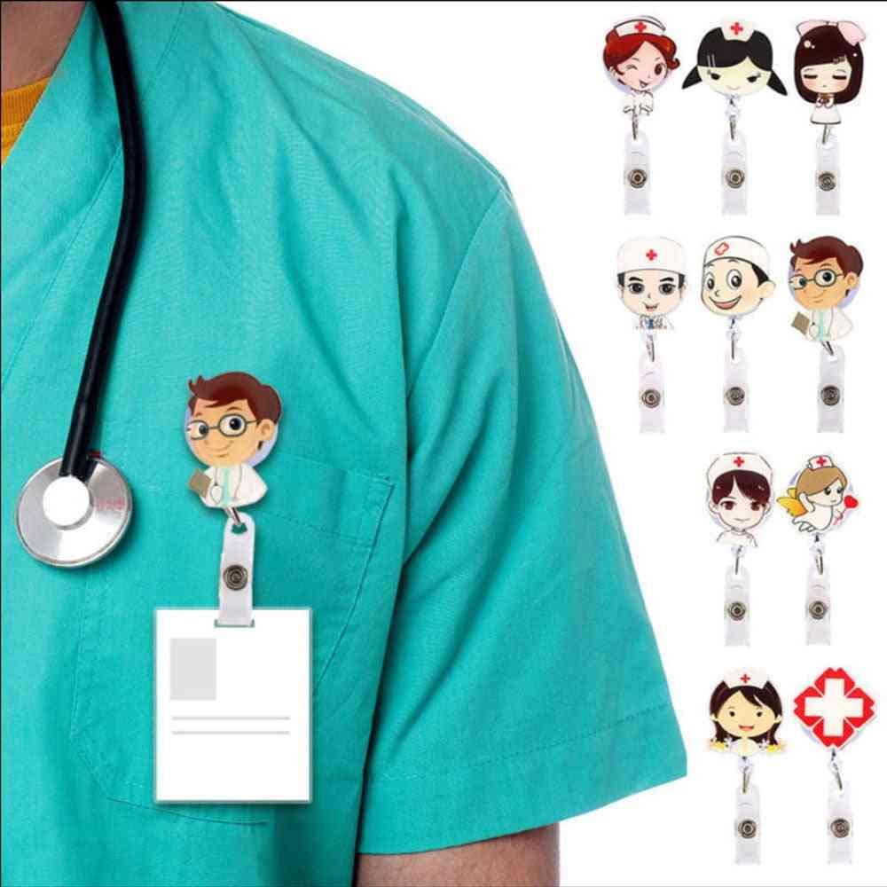 Retractable Badge Reel Nurse Id Name Card Holder - Cute Clips Key Belt Keychain