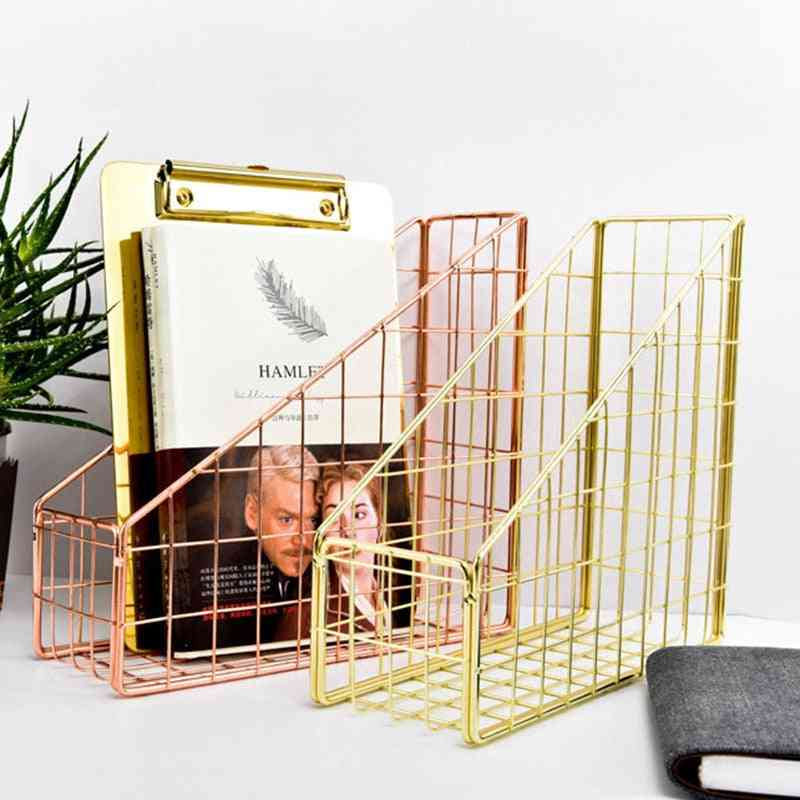 Electroplated Iron Book Holder-desktop File/magazine Stand