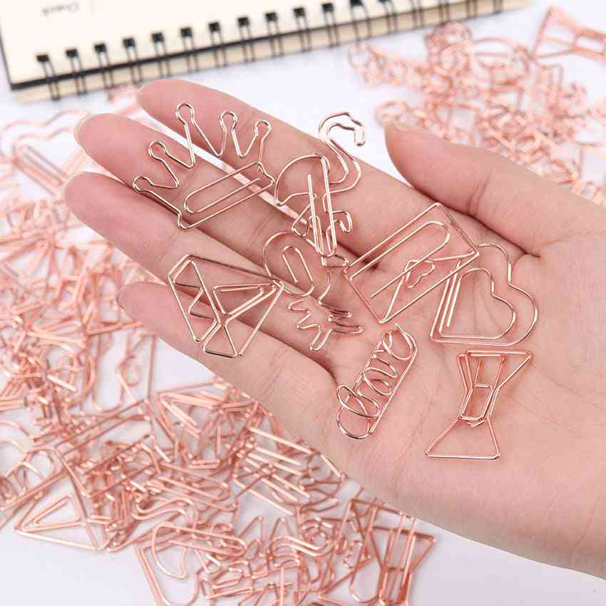 5pc Of Cute Bookmark-metal Plating Paper Clips