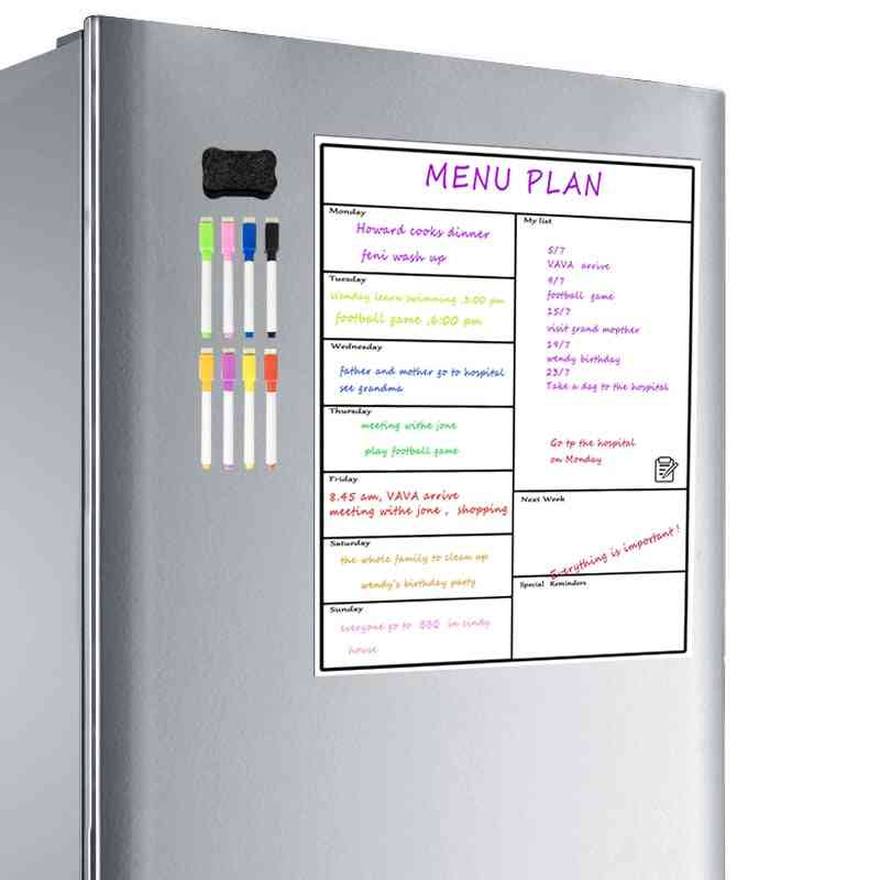 Magnetic Dry Erase Weekly Planner Board - Refrigerator Whiteboard Calendar