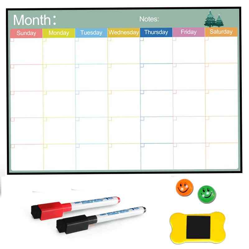Magnetic Board Monthly Calendar, Dry Erase Whiteboard