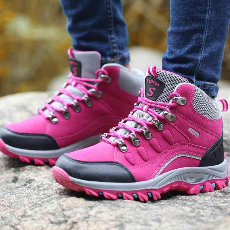 Women Waterproof Trekking Boots, Mountain Climbing Sports Shoes Rubber Sole Couple