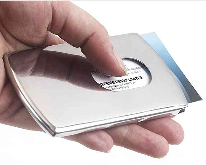 Vogue Thumb Slide Out Stainless Steel Pocket Business Id Credit Card Holder Case