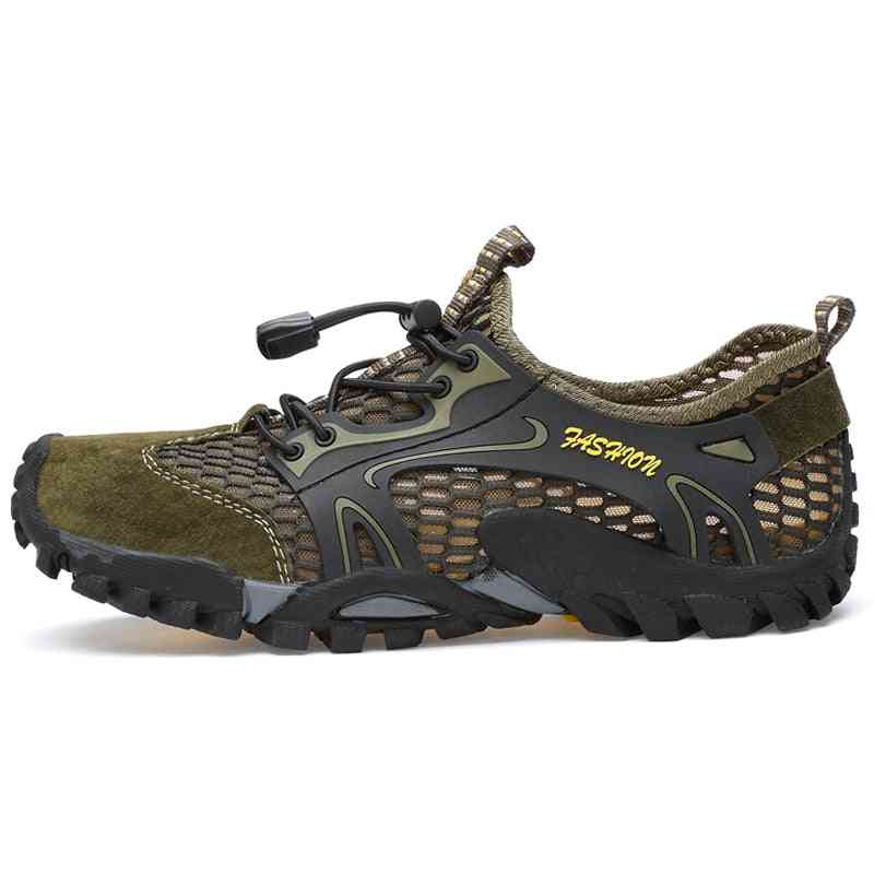 Summer Breathable Men Hiking Shoes Suede + Mesh Outdoor Sneakers For Climbing/sport
