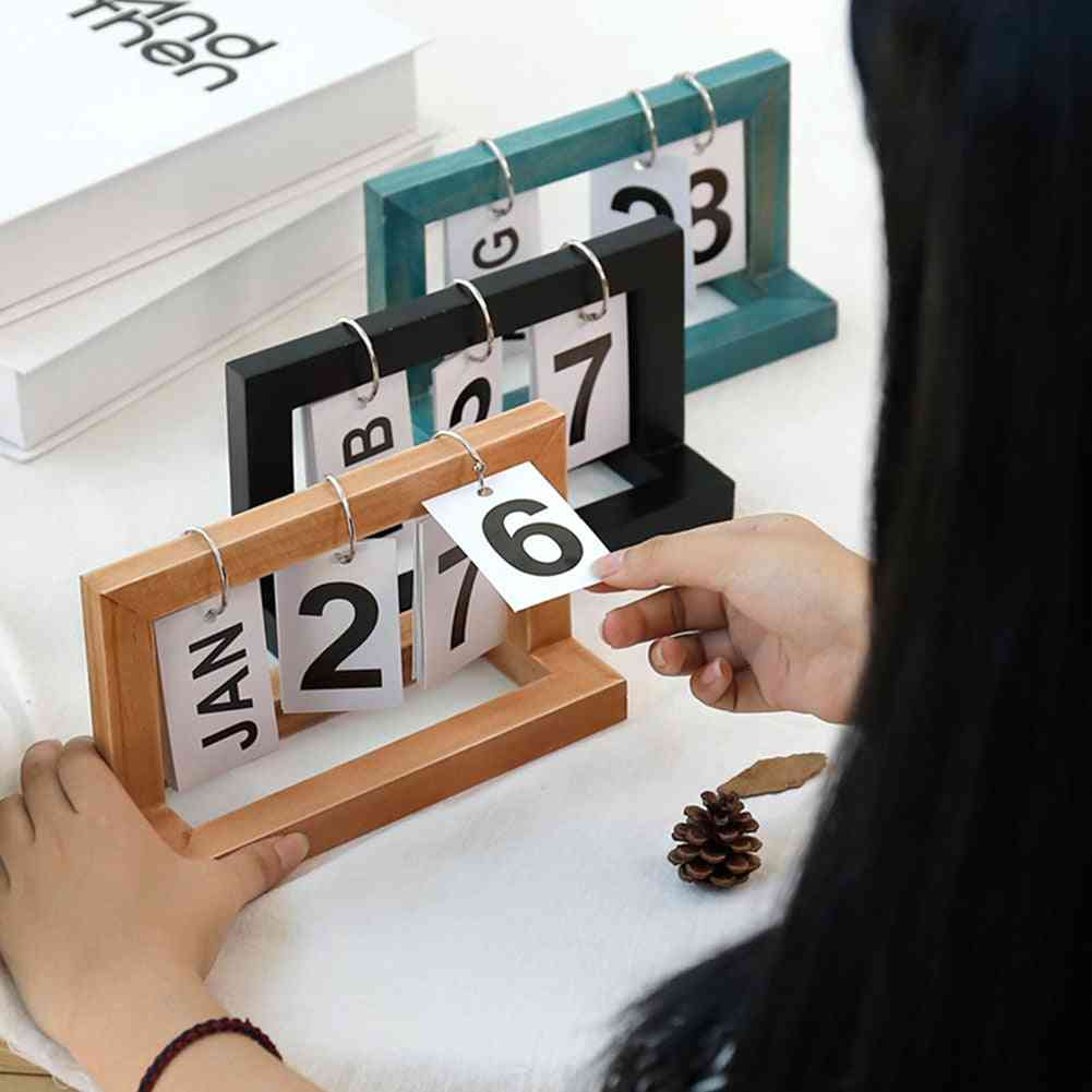 Office Wooden Vintage Home Calendar, Cafe Desktop Decorative, Rustic Ornaments Diy Flip
