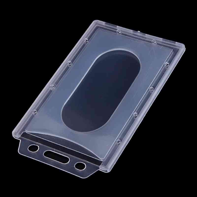 Transparent Plastic Vertical Hard Id Access Card Cover, Credit Card Case Badge Holder Double Side Card Holder Case