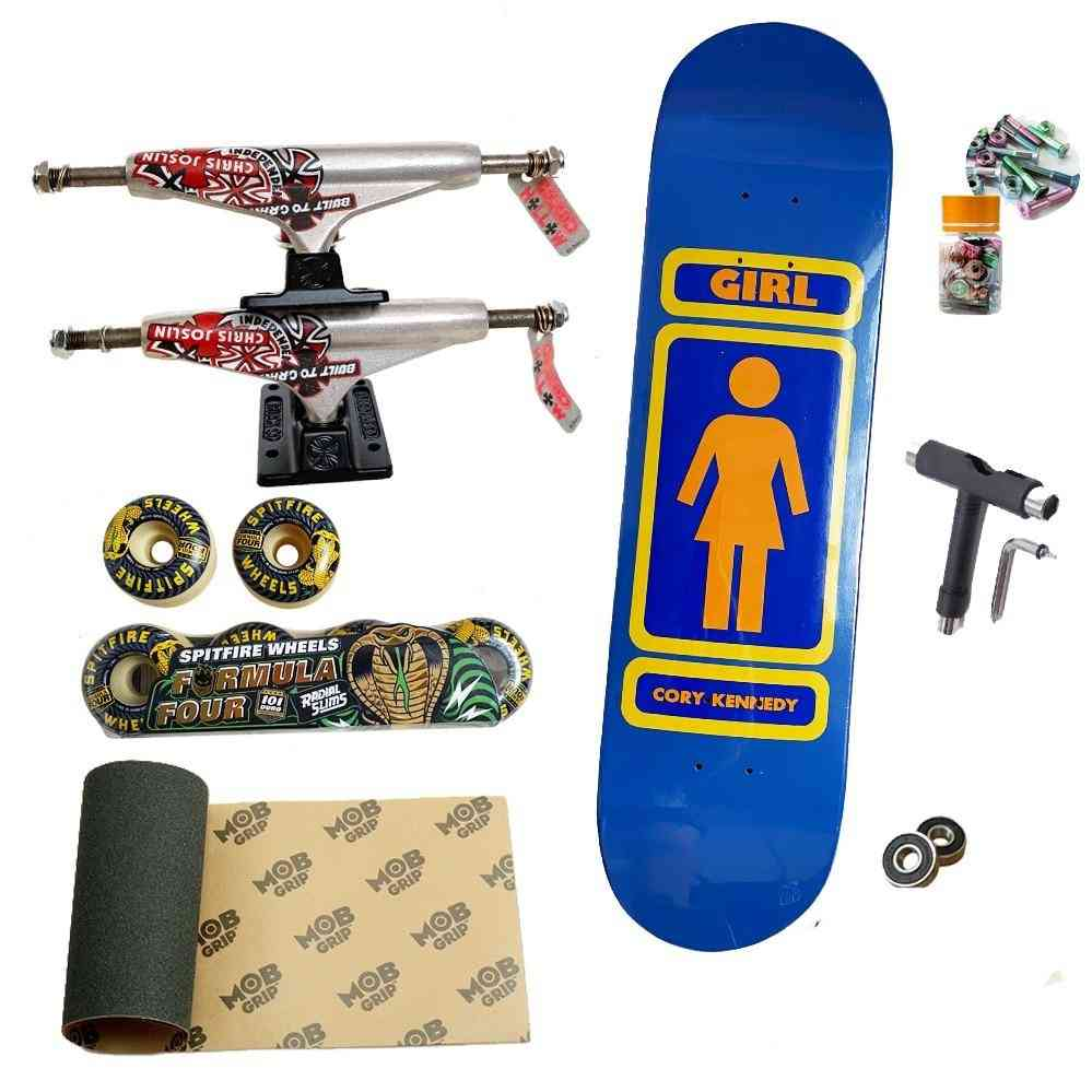 Professional Skteboard Set Including Deck/truck/wheelgrip/t Tool/bearing/screw And Nut.
