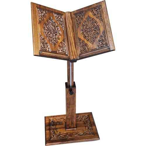 Hand Carved Wood Lectern With Lift