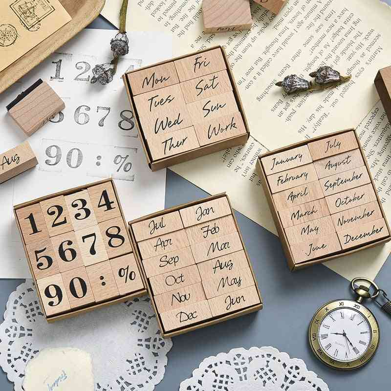 Wooden Stamp Set - Month And Week Seal School, Office Accessories