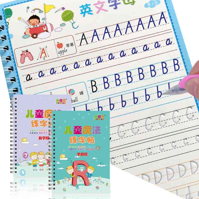 Reusable 3d Copybook For Calligraphy Number English Handwriting Books Learning Math Writing Practice Book